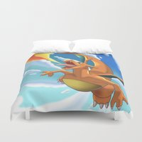 charizard Duvet Covers featuring Charizard by Pablo Rey
