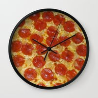 pizza Wall Clocks featuring Pizza by Callmepains