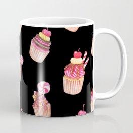 Cupcakes Pattern Cute Sweet Tooth Pink Colorful Black Background Coffee Mug