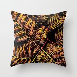 Peachy Yellow Bracken Throw Pillow