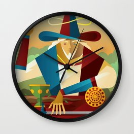 magician juggler with cup, wooden staff, sword and gold tarot card Wall Clock