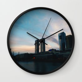 Buildings and sunset at Puerto Madero, Buenos Aires Wall Clock
