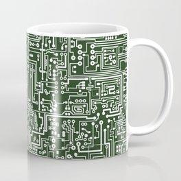 Circuit Board // Green & White Coffee Mug