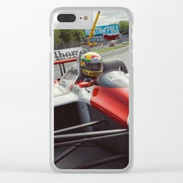 Ayrton Senna driving his MP4/4 Clear iPhone Case
