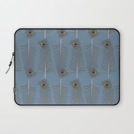 Peacock Feather Pattern Blue Laptop Sleeve