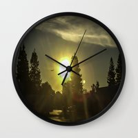 airplanes Wall Clocks featuring Airplanes & Sunshine  by Liese May Photography