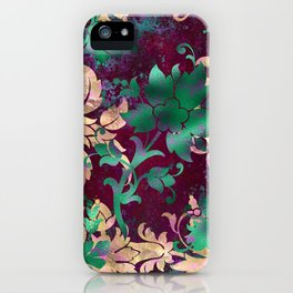 Jungle Floral Neck Gator Tan Green and Burgandy Jungle Flowers iPhone Case