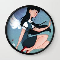 downton abbey Wall Clocks featuring Abbey by Katherine Galo