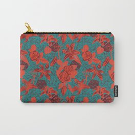 Linocut look in blue with roses Carry-All Pouch