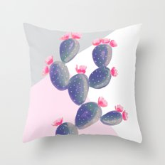 Watercolored Cactus on Geometry Throw Pillow