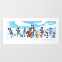 digimon Art Prints featuring digimon boys by luttu