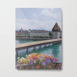 Balcony View of Chapel Bridge, Lucerne, Switzerland Metal Print