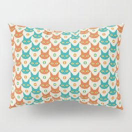 Mid-century Modern Abstract Cat Pattern, Vintage Cats in Orange and Teal Color Pillow Sham