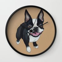 terrier Wall Clocks featuring Boston Terrier by PaperTigress