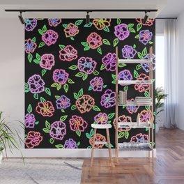 Neon Flowers Print Wall Mural