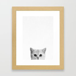Peeping Tom cat Framed Art Print