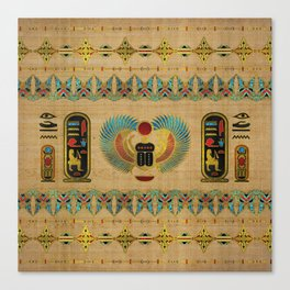 Egyptian Scarab  beetle  Ornament on papyrus Canvas Print