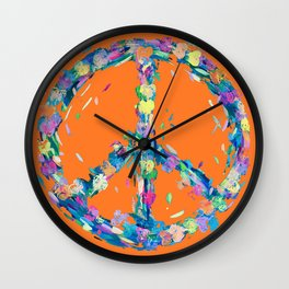 Whipped and Whirled Peace & Love Orange  Wall Clock