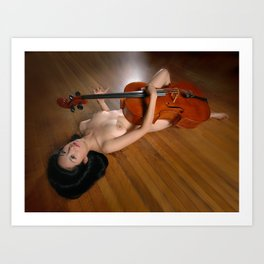 0149-JC Nude Cellist with Her Cello and Bow Naked Young Woman Musician Art Sexy Erotic Sweet Sensual Art Print