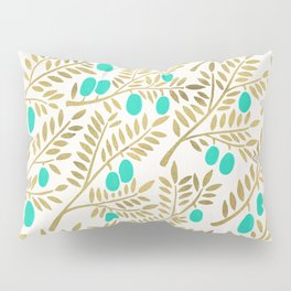 Gold & Turquoise Olive Branches Pillow Sham
