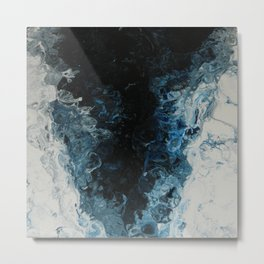 Blue Tornado, abstract acrylic fluid painting Metal Print