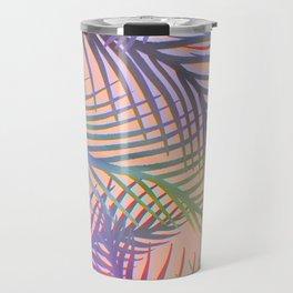 Palm Leaves Pattern - Purple, Peach, Blue Travel Mug