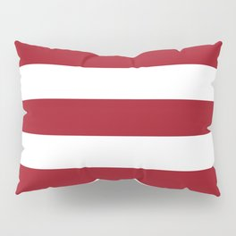 Ruby red - solid color - white stripes pattern Pillow Sham