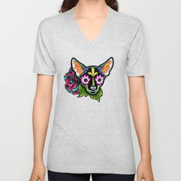Chihuahua in Black - Day of the Dead Sugar Skull Dog Unisex V-Neck