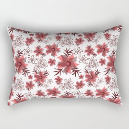 Red flowers on a white background. Rectangular Pillow