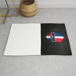 Flag of Dominican Republic on a Chaotic Splatter Skull Rug