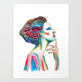Colorful ink drawing of a women, ink art, girl illustration, modern women art Art Print