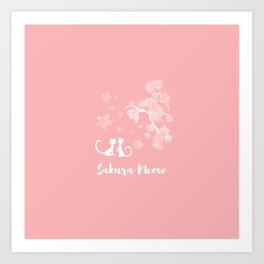 Sakura Cats Art Print