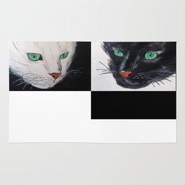 Black and White Cat Rug