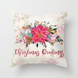 Christmas Greetings Poinsettia Bouquet Throw Pillow