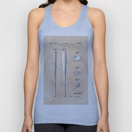 patent Taylor Streamlined baseball bat or the like 1938 Unisex Tank Top
