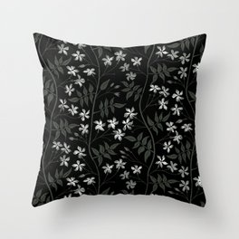 Star jasmine creeper - olive green, white and black Throw Pillow