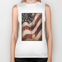 AMERICAN FLAG WOODEN Biker Tank