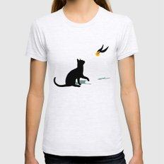 Cat and Snitch LARGE Ash Grey Womens Fitted Tee