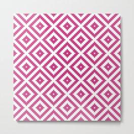 Magenta and white ethnic tribal zig zag rhombus pattern Metal Print