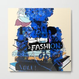 Fashion and Floral Deep Blue Metal Print
