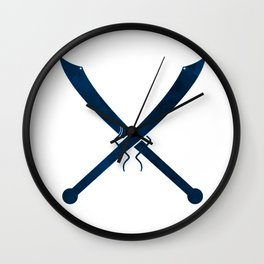 Blue Chinese Swords Wall Clock