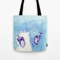 lions Tote Bags featuring Two Lions by Fatma