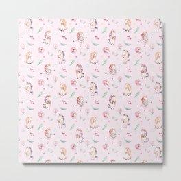 Blush pink green magenta watercolor magical unicorn floral Metal Print