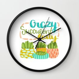 Crazy Succulent Lady Wall Clock