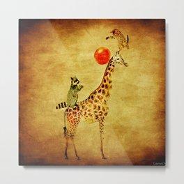 By playing on the giraffe Metal Print