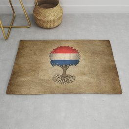 Vintage Tree of Life with Flag of The Netherlands Rug