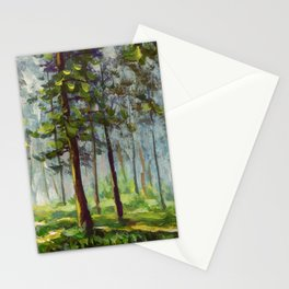 Original acrylic painting Walk in the sunny forest. Colorful illustration. Artwork fine art. Stationery Cards