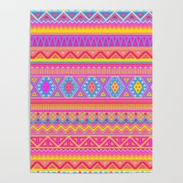 Aztec Pattern Pink and Light bLUE cOLORS Poster