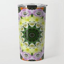 Tulips, Floral mandala-style 001.1 Travel Mug
