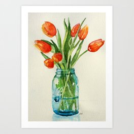 Watercolor Tulips in Teal Ball Jar Art Print